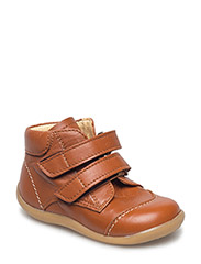 Shoes - flat - with velcro - 1431 COGNAC