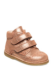 Shoes - flat - with velcro - 2423 DARK COPPER GLITTER