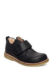Shoes - flat - with velcro - 1652/1589 BLACK/COGNAC