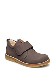 Shoes - flat - with velcro - GREY/COGNAC