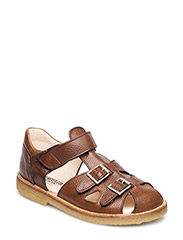 Sandal with two buckles in front - REDBROWN
