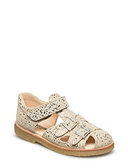 Sandal with two buckles in front - 2469 BEIGE W/ GOLD DOTS