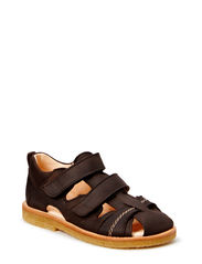 Sandal with 2 velcro closures - 1660 DARK BROWN