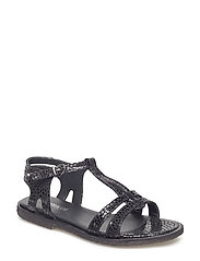 Sandal with leather sole - 2183 BLACK W. BLACK DOT