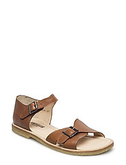Sandals- flat  - open toe -closed counter - 1431 COGNAC