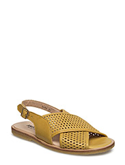 Sling-back sandal with hole pattern and buckle. - 1566/1566 YELLOW/YELLOW