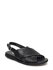 Sling-back sandal with hole pattern and buckle. - 1785/1785 BLACK/BLACK