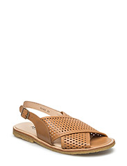 Sling-back sandal with hole pattern and buckle. - 1787/1787 COGNAC/COGNAC