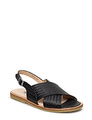 Sling-back sandal with buckle - 2475/2475 BLACK BRAID/BLACK BR