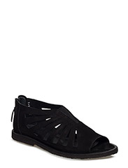 Sandals with holes, elastic and zipper - 1200/1163/001 BLACK/BLACK/BLACK
