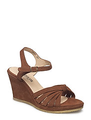 5504-101 Wedge sandal with knot and buckle - 1166 COGNAC