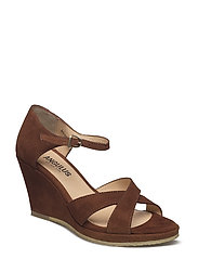 Sandals  - wedge -open toe -closed counter - 1166 COGNAC
