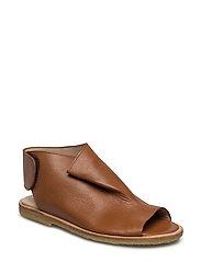 Draped sandal with velcro closure - 2415 COGNAC