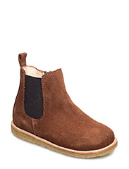 Booties - flat - with zipper - COGNAC/MEDIUM BROWN