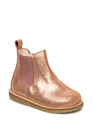 Booties - flat - with zipper - 2423/022 DARK COPPER GLITTER/ OLD ROSE