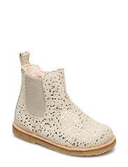 Booties - flat - with zipper - 2469/010 BEIGE WITH GOLD DOT/BEIGE