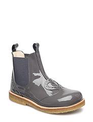 Shoes - flat - with elastic - 2314/004 PATENT DARKGREY/DARK