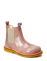 Booties - flat - with elastic - PATENT POWDER/BEIGE