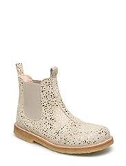 Booties - flat - with elastic - 2469/010 BEIGE WITH GOLD DOT/BEIGE