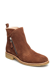 Booties - flat - with zipper - 1166/002 COGNAC/MEDIUM BROWN