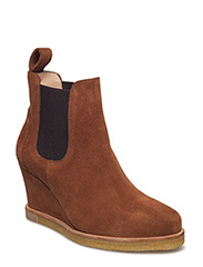 Booties - Wedge - with elastic - 1166/002 COGNAC/MEDIUM BROWN