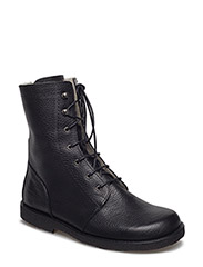 Boots - flat - with laces - 2504 BLACK