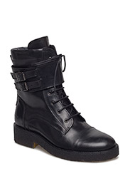Boots - flat - with lace and zip - 2619 BLACK SHINE