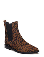 Booties - flat - with zipper - 2164/019 LEOPARD/BLACK RIB ELA