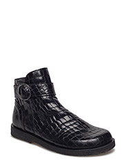 Booties - flat - with zipper - 2465 BLACK CROCO