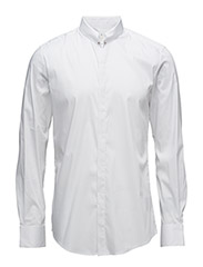 SHIRT WITH PIERCING ON FRONT CENTER COLLAR - WHITE