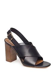 Cross sandal chunky heel - BLACK