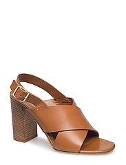 Cross sandal chunky heel - WHISKEY