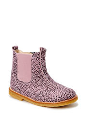 ECOLOGICAL HAND MADE LOW CHELSEA BOOT, WIDE FIT - LEOPARD LILLAC