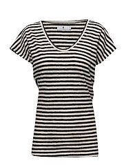 Carolyne Ann Linen Stripe - BLACK