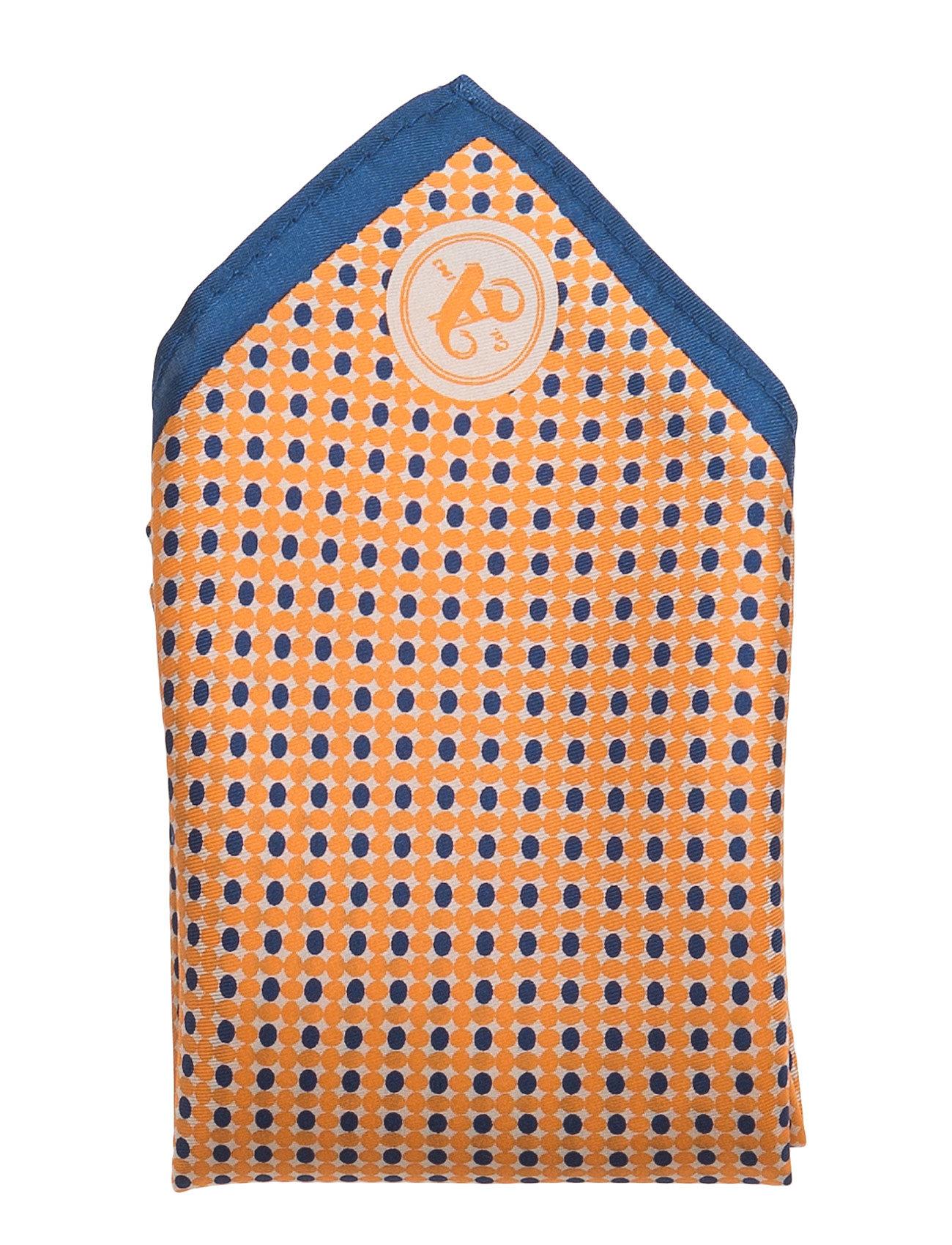 Hanky Micro Print, Blue ATLAS DESIGN Lommetørklæder til Herrer i orange