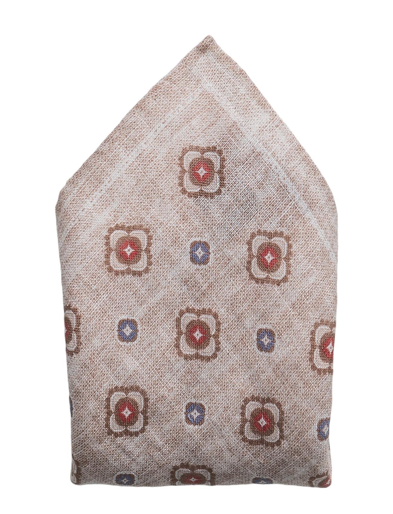 Hanky Printed Pattern, Red ATLAS DESIGN Lommetørklæder til Herrer i Beige