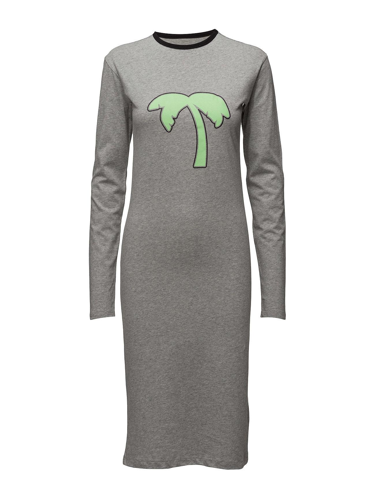 Print Ls Dress BACK Knælange & mellemlange til Damer i Grey Mel