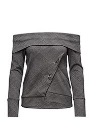 Pin cut off sweatshirt - GREY CHECKED