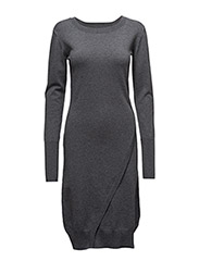 Wrap knit dress - GREY MARL