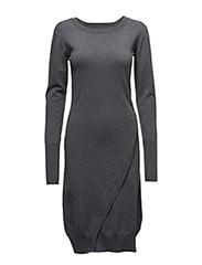 Wrap knit dress - GREY MARL