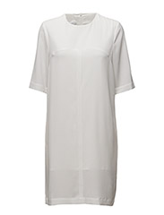 U SPLIT T-SHIRT DRESS - WHITE