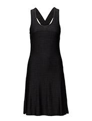 Round logo elastic dress - BLACK