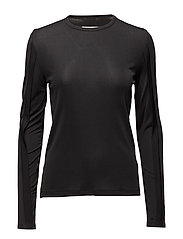 Rib slash LS top - BLACK