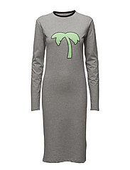 Print LS dress - GREY MEL