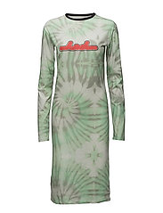 Print LS dress - AOP TIEDYE GREEN