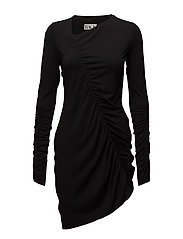 Gather dress jersey - BLACK
