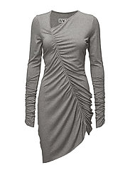 Gather dress jersey - GREY MELANGE