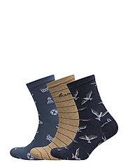 Barbour Coastal Sock Giftbox - BLUE/OATMEAL