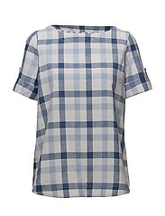 Barbour Malin Shirt - WHITE/VICTORIA BLUE
