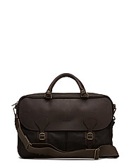 Wax Leather Briefcase - OLIVE